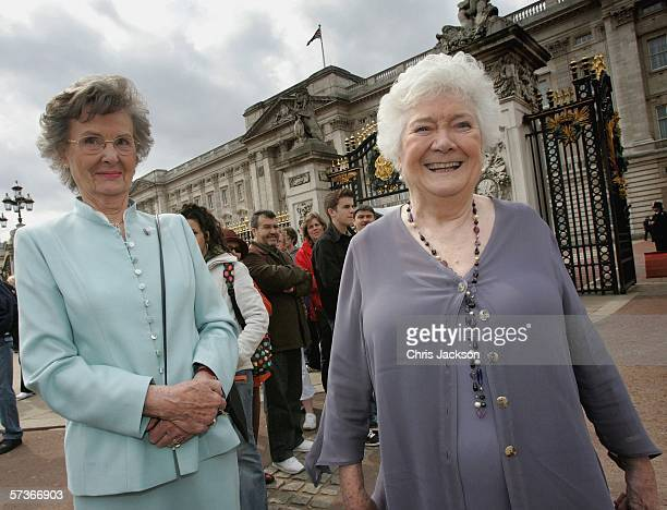 Elizabeth Morris from Ross-on-Wye and Hazel Birkett from Wymondham are seen before attending the Queen's 80th Birthday Lunch on April 19, 2006 at...