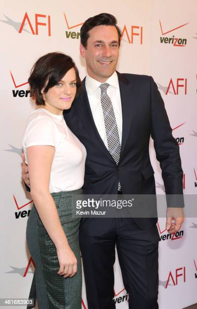 Elizabeth Moss and Jon Hamm attends the 14th annual AFI Awards Luncheon at Four Seasons Hotel Beverly Hills on January 10 2014 in Beverly Hills...