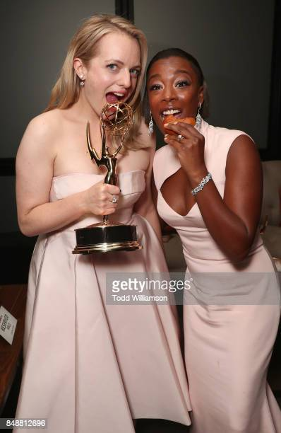 Elizabeth Moss and Samira Wiley attend Hulu's 2017 Emmy After Party at Otium on September 17 2017 in Los Angeles California