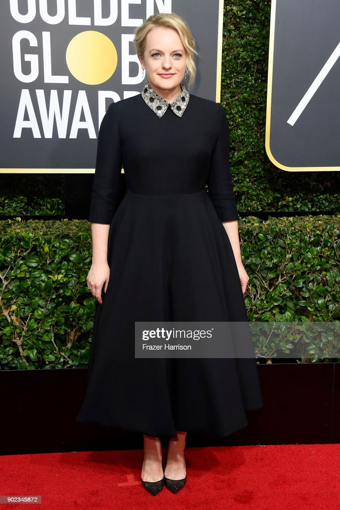 Elizabeth Moss attends The 75th Annual Golden Globe Awards at The Beverly Hilton Hotel on January 7, 2018 in Beverly Hills, California.