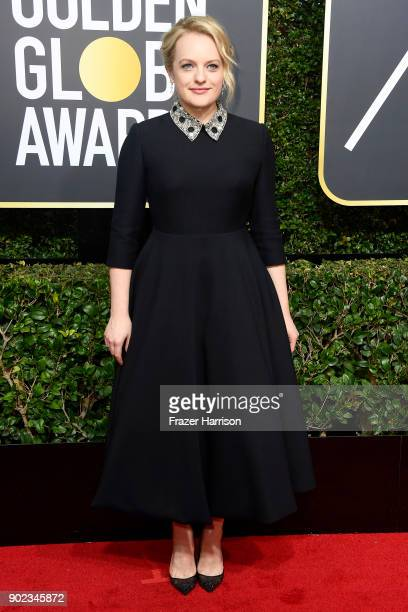 Elizabeth Moss attends The 75th Annual Golden Globe Awards at The Beverly Hilton Hotel on January 7 2018 in Beverly Hills California