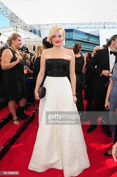 Elizabeth Moss from Mad Men on the red carpet for the 65th Primetime Emmy Awards which will be broadcast live across the country 8001100 PM ET/...