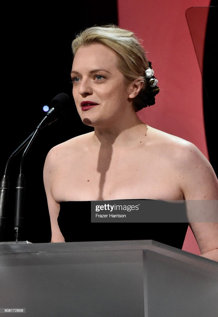 Elizabeth Moss on stage at the 29th Annual Producers Guild Awards at The Beverly Hilton Hotel on January 20, 2018 in Beverly Hills, California.