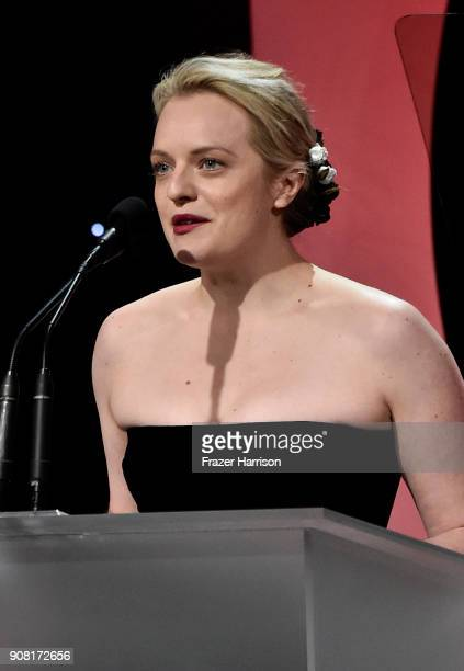 Elizabeth Moss on stage at the 29th Annual Producers Guild Awards at The Beverly Hilton Hotel on January 20 2018 in Beverly Hills California