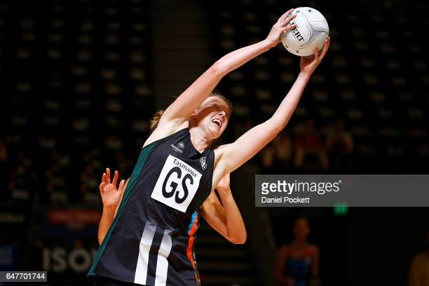 Elizabeth Nicol of the Magpies receives a pass during the round three Australian Netball League match between the Magpies and the Giants at Hisense...