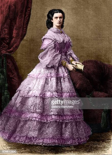 Elizabeth of Bavaria Empress of Austria engraving 1864