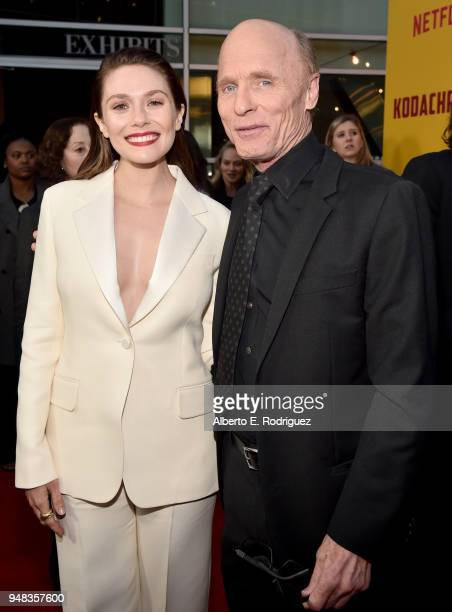 Elizabeth Olsen and Ed Harris attend the premiere of Netflix's Kodachrome at ArcLight Cinemas on April 18 2018 in Hollywood California