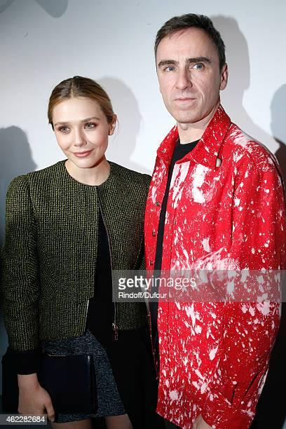 Elizabeth Olsen and Fashion Designer Raf Simons pose backstage after Christian Dior show as part of Paris Fashion Week HauteCouture Spring/Summer...
