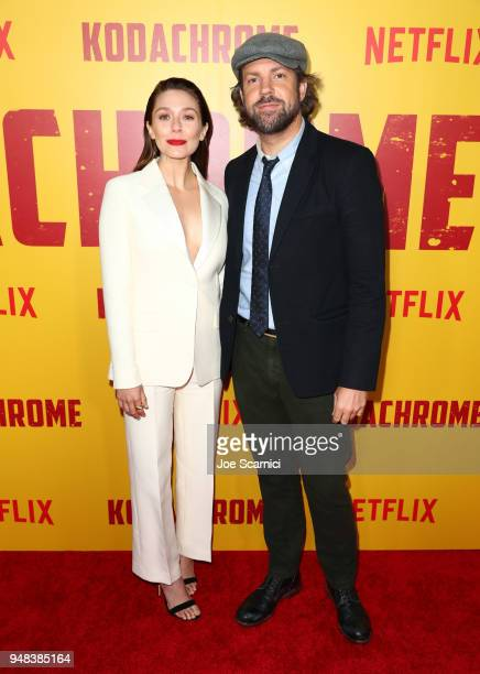 Elizabeth Olsen and Jason Sudeikis attend Los Angeles special screening of Netflix's film 'KODACHROME' on April 18 2018 in Hollywood California