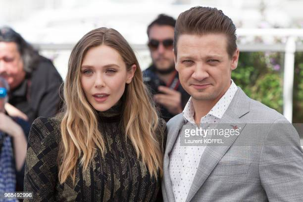 Elizabeth Olsen and Jeremy Renner attend the 'Wind River' photocall during the 70th annual Cannes Film Festival at Palais des Festivals on May 20...