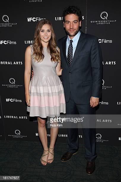 Elizabeth Olsen and Josh Radnor attend the Liberal Arts New York Screening at Sunshine Landmark on September 10 2012 in New York City