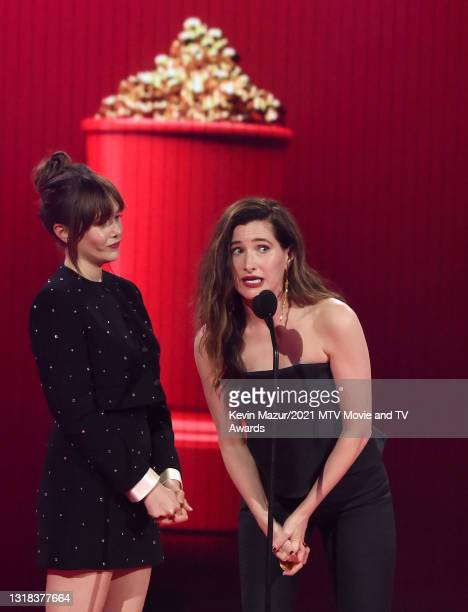 Elizabeth Olsen and Kathryn Hahn accept the Best Fight award for 'WandaVision' onstage during the 2021 MTV Movie & TV Awards at the Hollywood...