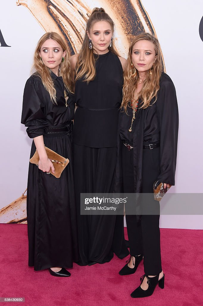 Elizabeth Olsen (center) and Mary-Kate and Ashley attend Olsen the 2016 CFDA Fashion Awards at the Hammerstein Ballroom on June 6, 2016 in New York City.