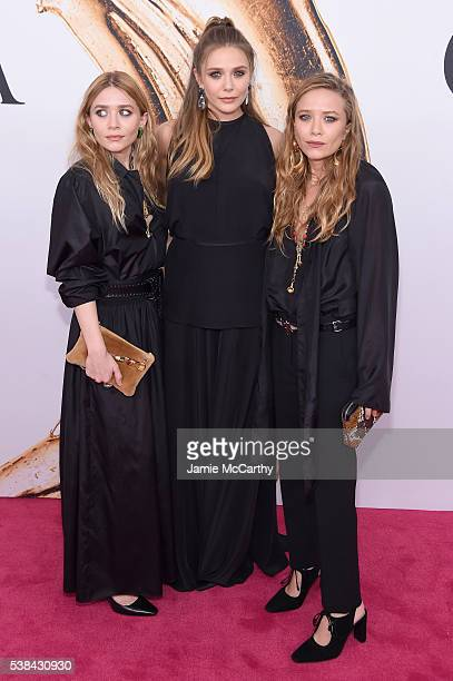 Elizabeth Olsen and MaryKate and Ashley attend Olsen the 2016 CFDA Fashion Awards at the Hammerstein Ballroom on June 6 2016 in New York City