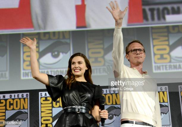 Elizabeth Olsen and Paul Bettany speak at the Marvel Studios Panel during 2019 Comic-Con International at San Diego Convention Center on July 20,...