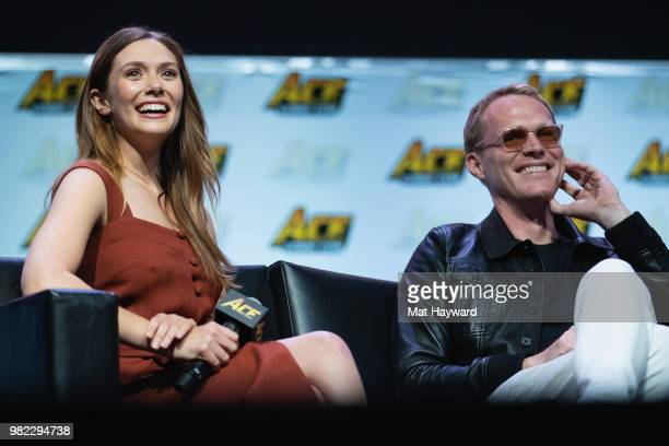 Elizabeth Olsen and Paul Bettany speak on stage during ACE Comic Con at WaMu Theature on June 23 2018 in Seattle Washington