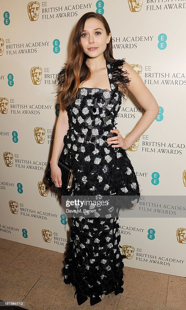 Elizabeth Olsen arrives at the EE British Academy Film Awards at the Royal Opera House on February 10, 2013 in London, England.