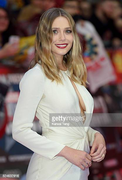 Elizabeth Olsen arrives for European film premiere Captain America Civil War at Vue Westfield on April 26 2016 in London England