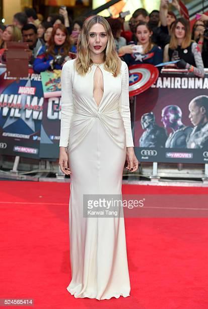 Elizabeth Olsen arrives for European film premiere of 'Captain America Civil War' at Vue Westfield on April 26 2016 in London England