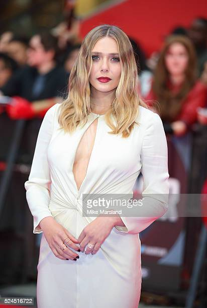 Elizabeth Olsen arrives for European Premiere 'Captain America Civil War' at Vue Westfield on April 26 2016 in London England