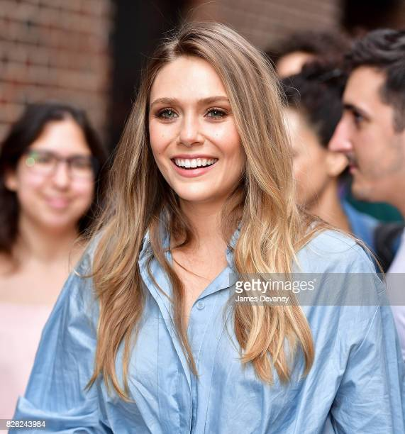 Elizabeth Olsen arrives to the 'The Late Show With Stephen Colbert' at the Ed Sullivan Theater August 3 2017 in New York City
