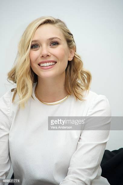 Elizabeth Olsen at the Avengers Age of Ultron Press Conference at Walt Disney Studios on April 11 2015 in Burbank California