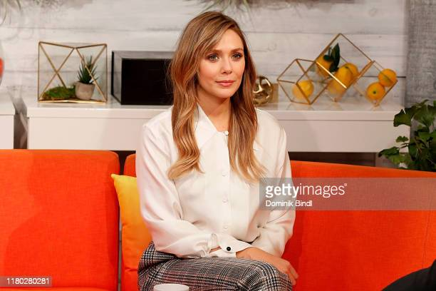 "Elizabeth Olsen attends BuzzFeed's ""AM To DM"" on October 10, 2019 in New York City."