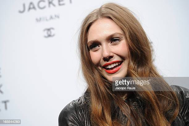 Elizabeth Olsen attends hanel The Little Black Jacket Karl Lagerfeld Photography Exhibition Dinner Party on April 4 2013 in Milan Italy