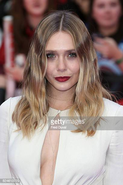 Elizabeth Olsen attends the European Premiere of 'Captain America Civil War' at Vue Westfield on April 26 2016 in London England