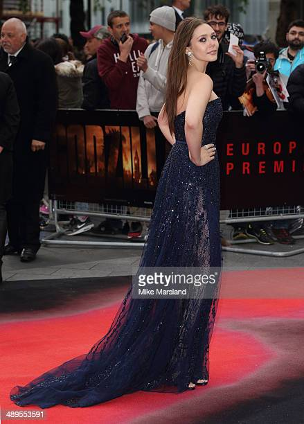 Elizabeth Olsen attends the European premiere of 'Godzilla' at Odeon Leicester Square on May 11 2014 in London England