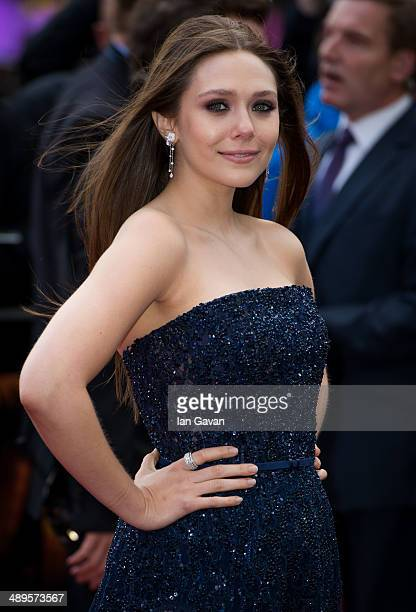 Elizabeth Olsen attends the European premiere of Godzilla at the Odeon Leicester Square on May 11 2014 in London England