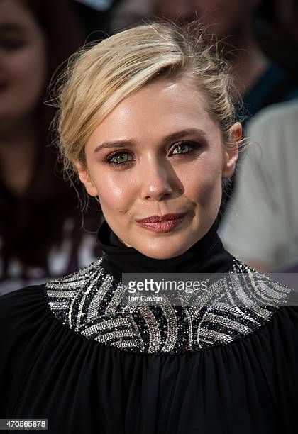 Elizabeth Olsen attends the European premiere of 'The Avengers Age Of Ultron' at Westfield London on April 21 2015 in London England