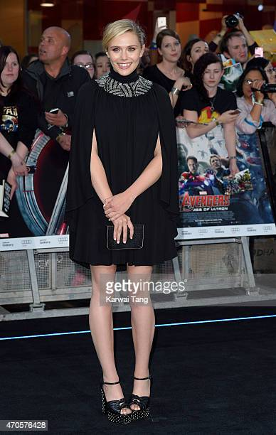 "Elizabeth Olsen attends the European premiere of ""The Avengers: Age Of Ultron"" at Westfield London on April 21, 2015 in London, England."