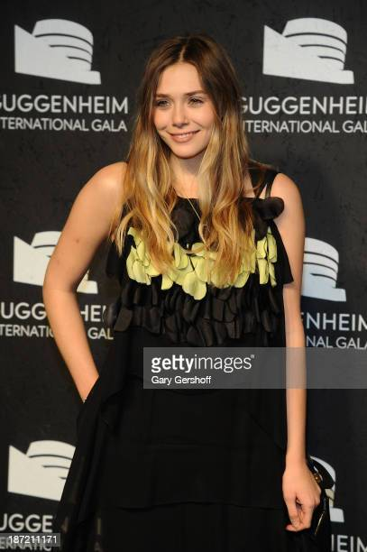 Elizabeth Olsen attends the Guggenheim International Gala made possible by Dior Preparty hosted by The Young Collector's Council at Guggenheim Museum...