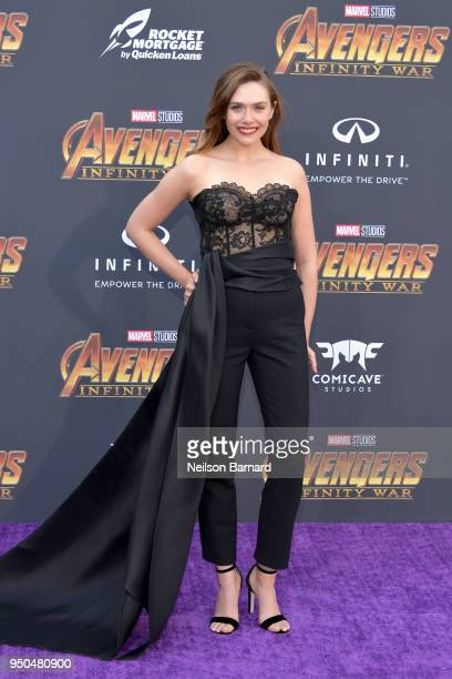 Elizabeth Olsen attends the premiere of Disney and Marvel's 'Avengers Infinity War' on April 23 2018 in Los Angeles California