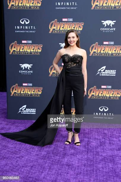 Elizabeth Olsen attends the premiere of Disney and Marvel's 'Avengers: Infinity War' on April 23, 2018 in Los Angeles, California.
