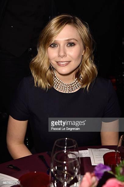 Elizabeth Olsen attends the Sidaction Gala Dinner 2015 at Pavillon d'Armenonville on January 29 2015 in Paris France