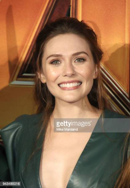"""Elizabeth Olsen attends the UK Fan Event for """"Avengers Infinity War"""" at Television Studios White City on April 8, 2018 in London, England."""
