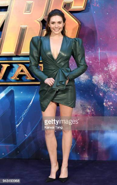 Elizabeth Olsen attends the UK Fan Event for 'Avengers Infinity War' at Television Studios White City on April 8 2018 in London England