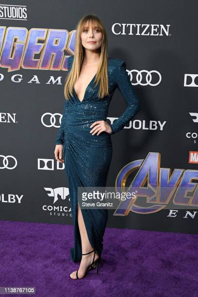 Elizabeth Olsen attends the world premiere of Walt Disney Studios Motion Pictures Avengers Endgame at the Los Angeles Convention Center on April 22...