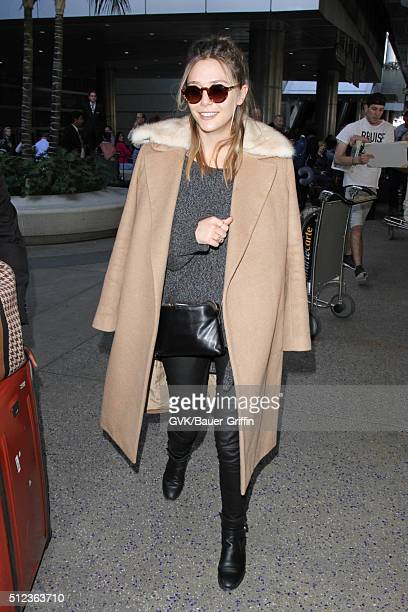 Elizabeth Olsen is seen at LAX on February 25 2016 in Los Angeles California