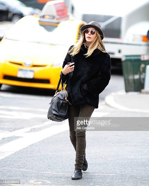 Elizabeth Olsen is seen in Tribeca on the streets of Manhattan on March 28 2012 in New York City