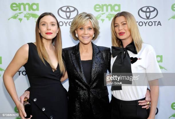 Elizabeth Olsen Jane Fonda and Ellen Pompeo attend the Environmental Media Association 1st Annual Honors Benefit Gala on June 9 2018 in Los Angeles...