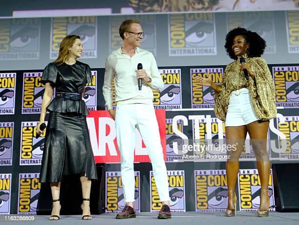 Elizabeth Olsen, Paul Bettany and Teyonah Parris of Marvel Studios' 'WandaVision' at the San Diego Comic-Con International 2019 Marvel Studios Panel...