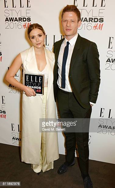 Elizabeth Olsen winner of the Actress of the Year award and James Norton pose in the winners room at The Elle Style Awards 2016 on February 23 2016...