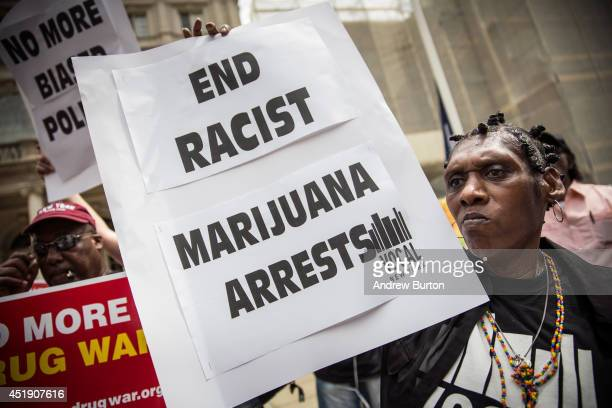Elizabeth Owens protests on the steps of New York City Hall in support of the proposed Fairness and Equity Act which would attempt to reform racially...