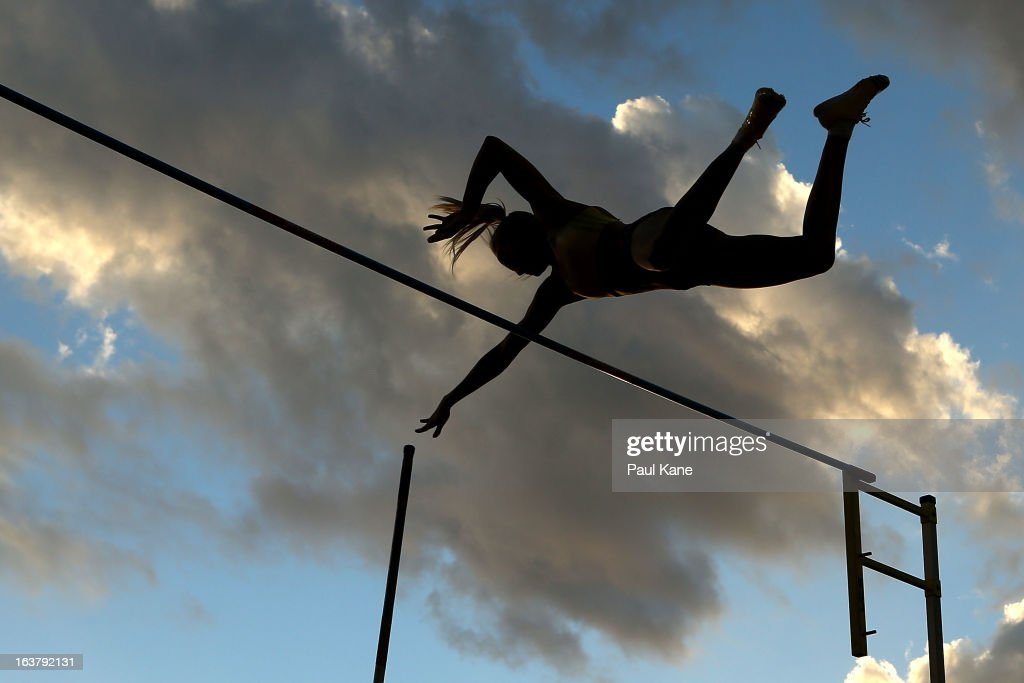 Elizabeth Parnov competes in the womens pole vault during the Perth Track Classic at the WA Athletics Stadium on March 16, 2013 in Perth, Australia.