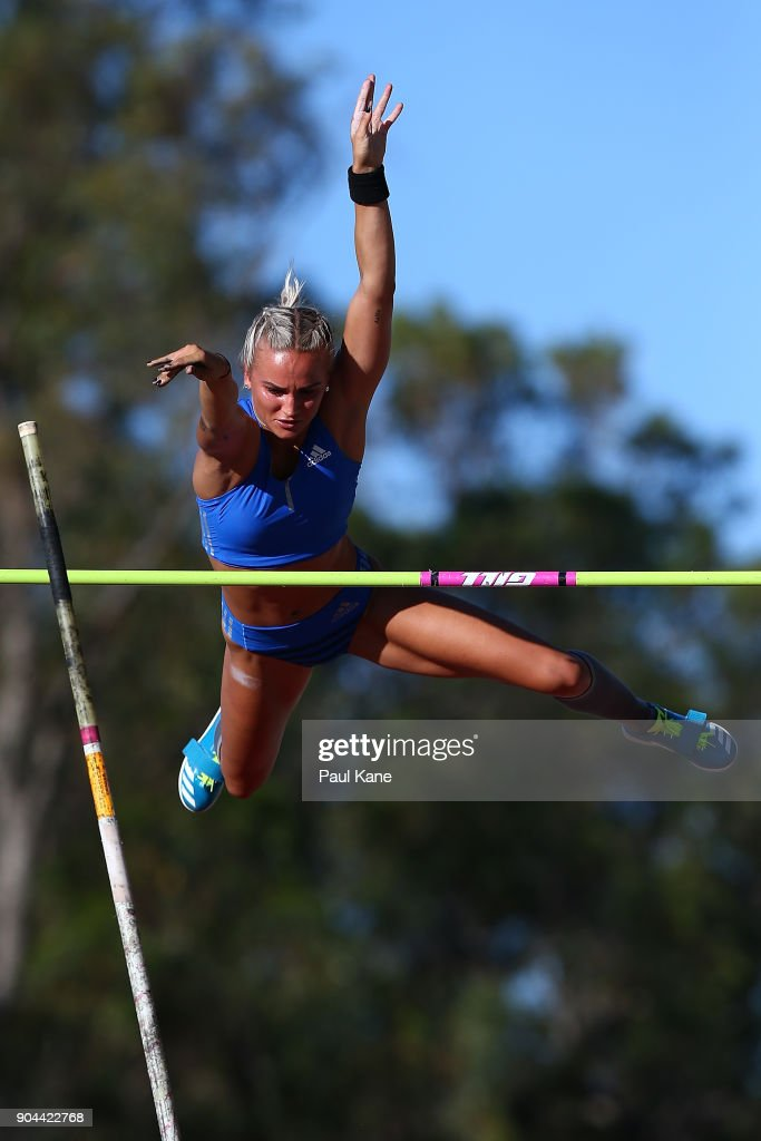 Elizabeth Parnov of WA competes in the women's pole vault during the Jandakot Airport Perth Track Classic at WA Athletics Stadium on January 13, 2018 in Perth, Australia.