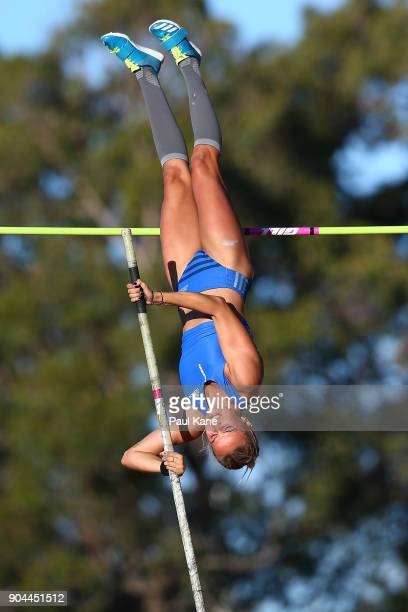 Elizabeth Parnov of WA competes in the women's pole vault during the Jandakot Airport Perth Track Classic at WA Athletics Stadium on January 13 2018...