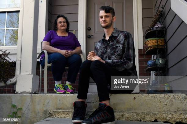 Elizabeth Pate 58 and her adopted son Stephen Morgan 22 at their home in Broomfield Stephen came to live with Elizabeth in December 2013 and was...